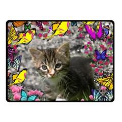Emma In Butterflies I, Gray Tabby Kitten Fleece Blanket (small) by DianeClancy