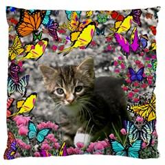 Emma In Butterflies I, Gray Tabby Kitten Large Cushion Case (one Side) by DianeClancy