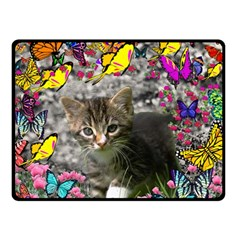 Emma In Butterflies I, Gray Tabby Kitten Double Sided Fleece Blanket (small)  by DianeClancy