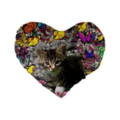 Emma In Butterflies I, Gray Tabby Kitten Standard 16  Premium Flano Heart Shape Cushions by DianeClancy