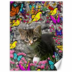 Emma In Butterflies I, Gray Tabby Kitten Canvas 36  X 48   by DianeClancy