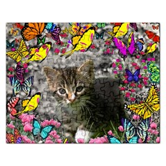 Emma In Butterflies I, Gray Tabby Kitten Rectangular Jigsaw Puzzl by DianeClancy