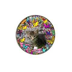 Emma In Butterflies I, Gray Tabby Kitten Hat Clip Ball Marker (10 Pack) by DianeClancy