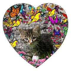 Emma In Butterflies I, Gray Tabby Kitten Jigsaw Puzzle (heart) by DianeClancy