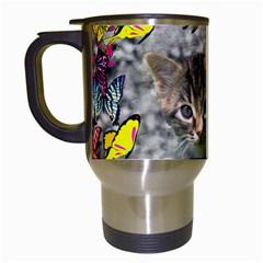 Emma In Butterflies I, Gray Tabby Kitten Travel Mugs (white) by DianeClancy