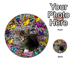 Emma In Butterflies I, Gray Tabby Kitten Multi Purpose Cards (round)  by DianeClancy