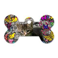 Emma In Butterflies I, Gray Tabby Kitten Dog Tag Bone (one Side) by DianeClancy