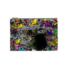 Emma In Butterflies I, Gray Tabby Kitten Cosmetic Bag (medium)  by DianeClancy