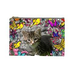 Emma In Butterflies I, Gray Tabby Kitten Cosmetic Bag (large)  by DianeClancy