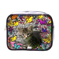 Emma In Butterflies I, Gray Tabby Kitten Mini Toiletries Bags by DianeClancy