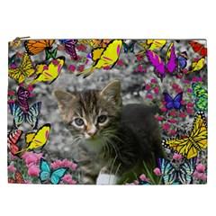 Emma In Butterflies I, Gray Tabby Kitten Cosmetic Bag (xxl)  by DianeClancy