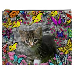 Emma In Butterflies I, Gray Tabby Kitten Cosmetic Bag (xxxl)  by DianeClancy