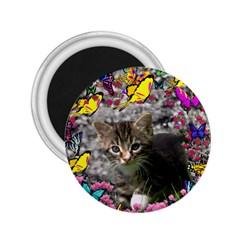 Emma In Butterflies I, Gray Tabby Kitten 2 25  Magnets by DianeClancy