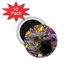 Emma In Butterflies I, Gray Tabby Kitten 1 75  Magnets (10 Pack)  by DianeClancy