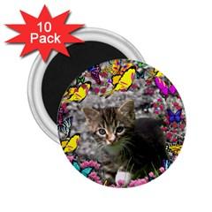 Emma In Butterflies I, Gray Tabby Kitten 2 25  Magnets (10 Pack)  by DianeClancy