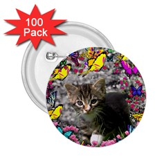 Emma In Butterflies I, Gray Tabby Kitten 2 25  Buttons (100 Pack)  by DianeClancy
