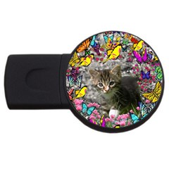 Emma In Butterflies I, Gray Tabby Kitten Usb Flash Drive Round (2 Gb)  by DianeClancy