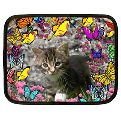 Emma In Butterflies I, Gray Tabby Kitten Netbook Case (xl)  by DianeClancy