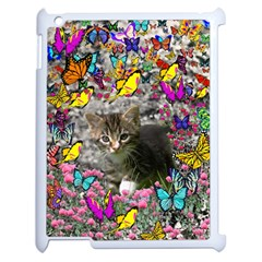 Emma In Butterflies I, Gray Tabby Kitten Apple Ipad 2 Case (white) by DianeClancy