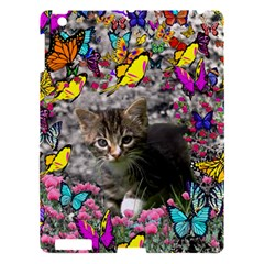 Emma In Butterflies I, Gray Tabby Kitten Apple Ipad 3/4 Hardshell Case by DianeClancy