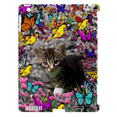 Emma In Butterflies I, Gray Tabby Kitten Apple Ipad 3/4 Hardshell Case (compatible With Smart Cover) by DianeClancy