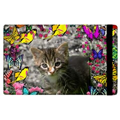 Emma In Butterflies I, Gray Tabby Kitten Apple Ipad 2 Flip Case by DianeClancy