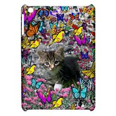 Emma In Butterflies I, Gray Tabby Kitten Apple Ipad Mini Hardshell Case by DianeClancy