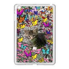 Emma In Butterflies I, Gray Tabby Kitten Apple Ipad Mini Case (white) by DianeClancy