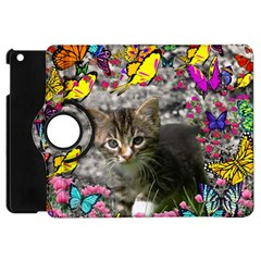 Emma In Butterflies I, Gray Tabby Kitten Apple Ipad Mini Flip 360 Case by DianeClancy