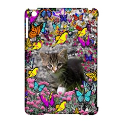 Emma In Butterflies I, Gray Tabby Kitten Apple Ipad Mini Hardshell Case (compatible With Smart Cover) by DianeClancy