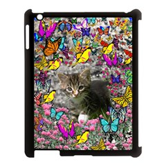 Emma In Butterflies I, Gray Tabby Kitten Apple Ipad 3/4 Case (black) by DianeClancy
