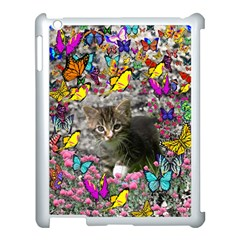 Emma In Butterflies I, Gray Tabby Kitten Apple Ipad 3/4 Case (white) by DianeClancy
