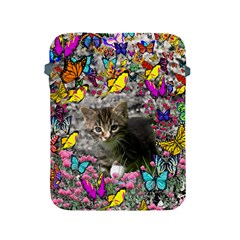 Emma In Butterflies I, Gray Tabby Kitten Apple Ipad 2/3/4 Protective Soft Cases by DianeClancy