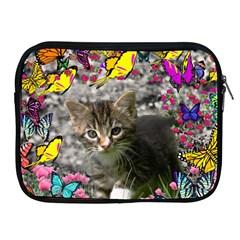 Emma In Butterflies I, Gray Tabby Kitten Apple Ipad 2/3/4 Zipper Cases by DianeClancy