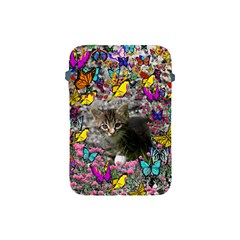 Emma In Butterflies I, Gray Tabby Kitten Apple Ipad Mini Protective Soft Cases by DianeClancy