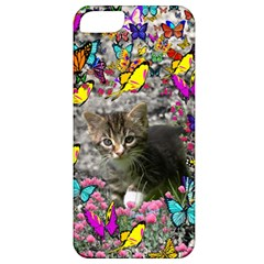 Emma In Butterflies I, Gray Tabby Kitten Apple Iphone 5 Classic Hardshell Case by DianeClancy