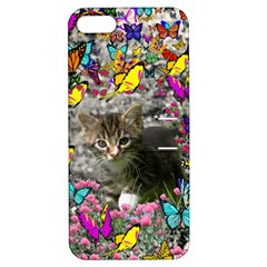 Emma In Butterflies I, Gray Tabby Kitten Apple Iphone 5 Hardshell Case With Stand by DianeClancy