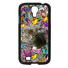 Emma In Butterflies I, Gray Tabby Kitten Samsung Galaxy S4 I9500/ I9505 Case (black) by DianeClancy