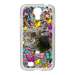 Emma In Butterflies I, Gray Tabby Kitten Samsung Galaxy S4 I9500/ I9505 Case (white) by DianeClancy