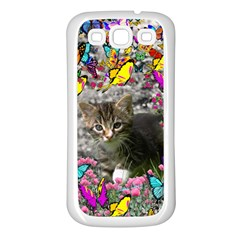 Emma In Butterflies I, Gray Tabby Kitten Samsung Galaxy S3 Back Case (white) by DianeClancy