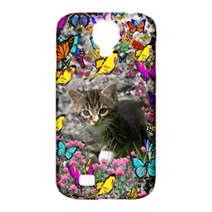 Emma In Butterflies I, Gray Tabby Kitten Samsung Galaxy S4 Classic Hardshell Case (pc+silicone) by DianeClancy