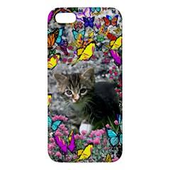 Emma In Butterflies I, Gray Tabby Kitten Iphone 5s/ Se Premium Hardshell Case by DianeClancy