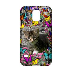 Emma In Butterflies I, Gray Tabby Kitten Samsung Galaxy S5 Hardshell Case  by DianeClancy