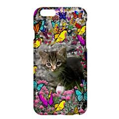 Emma In Butterflies I, Gray Tabby Kitten Apple Iphone 6 Plus/6s Plus Hardshell Case by DianeClancy