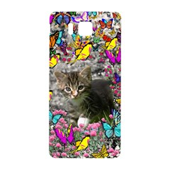 Emma In Butterflies I, Gray Tabby Kitten Samsung Galaxy Alpha Hardshell Back Case by DianeClancy