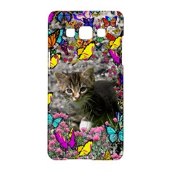 Emma In Butterflies I, Gray Tabby Kitten Samsung Galaxy A5 Hardshell Case  by DianeClancy