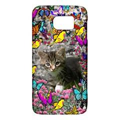 Emma In Butterflies I, Gray Tabby Kitten Galaxy S6 by DianeClancy
