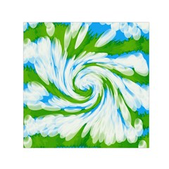 Tie Dye Green Blue Abstract Swirl Small Satin Scarf (square) by BrightVibesDesign