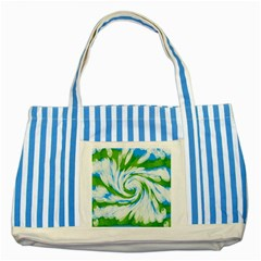 Tie Dye Green Blue Abstract Swirl Striped Blue Tote Bag by BrightVibesDesign