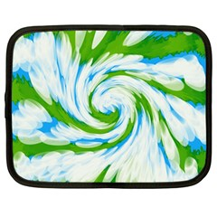 Tie Dye Green Blue Abstract Swirl Netbook Case (large) by BrightVibesDesign